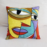 100% Cotton Abstract Painting Square Pillow Cover Embroidered Cushion Cover Car Chair Sofa Pillow Case 45x45cm Without Stuffing