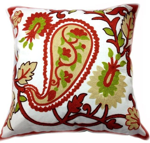 Decorative Paisley Cotton Cushion Cover,Sqaure Canvas Crewel Embroidery for Wedding Sofa Chair,Outdoor Throw Pillow Case