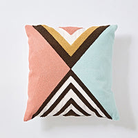 Home Decor Embroidered Cushion Cover Colorful Triangle Block Geometric Canvas Cotton Square Embroidery Pillow Cover 45x45cm