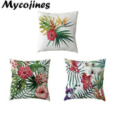 Green and Beautiful Leaves Throw Pillowcase Flowers 45Cmx45Cm Square Monstera Home Office Sofa Decorate Houseware Cushion Cover
