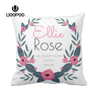Custom Baby Pillow Cover Girl Birth Square Wreath Flower Pillow Case Printed Polyester Canvas Decorative Sofa Cushion Covers