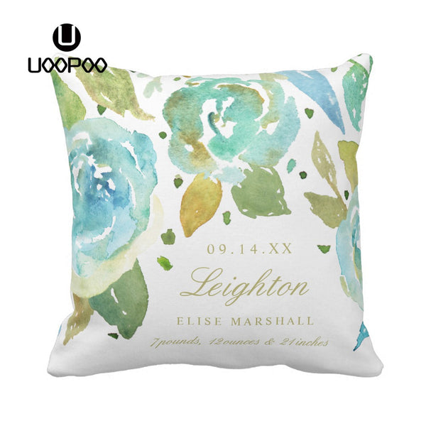 Custom Cute Kids Cushion Cover Square Cotton Canvas Polyester Lavish Watercolor Florals Throw Pillow Cover Baby Kids Pillow Case