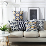 Home Decoractive Embroidered Cushion Cover Navy Blue Floral Geometric Canvas Cotton Square Embroidery Pillow Cover 45x45cm