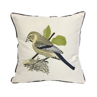 New Garden Canvas Cushion Cover Green Plant Parrot Embroidery Pillow Cover Farmhouse Home Decor Almofada Decorativa Para Sofa