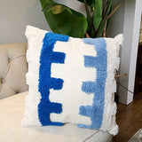 Blue Cushion Cover Pillow Case Wool Handmade with Tassels For Sofa Seat Simple Home Decorative Canvas 45x45cm Boho style