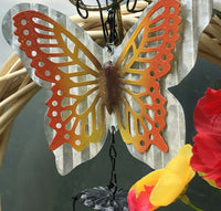 Farmhouse Poppy Door Wreath Summer to Fall, Wind Chimes & Butterfly, Handmade US