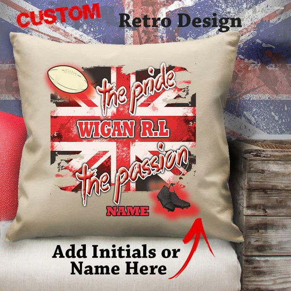 Personalised Wigan Rugby League Vintage Cushion Custom Canvas Cover Gift