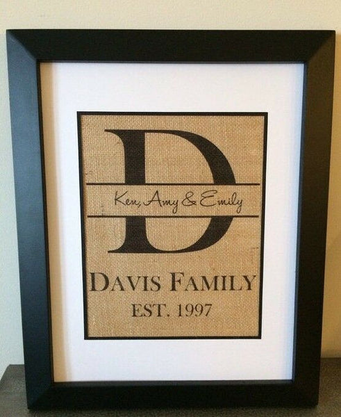 Personalized Burlap Print FAMILY Wall Art Established Sign CUSTOM WEDDING GIFT
