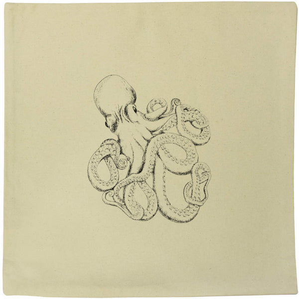 40cm x 40cm 'Sketched Octopus' Canvas Cushion Cover (CV00008755)