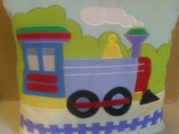 Train Theme Soft Throw Pillow, Child Room Decor..16.5 X 15.5 Pre Owned