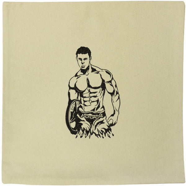 40cm x 40cm 'Weight Lifter' Canvas Cushion Cover (CV00016960)