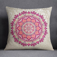 S4Sassy Mandala Printed Home Decor Throw Beige Cushion Case Square Pillow Cover