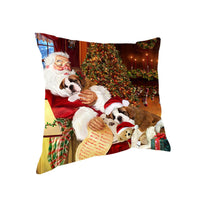 Santa Sleeping with Saint Bernard Dogs Christmas Pillow 14x14