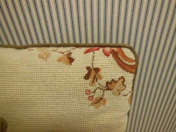 "Needlepoint and Petite Point Pillow 17 1/2"" X 15"""