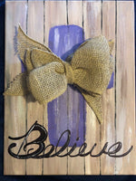 Custom Made Canvas Believe Purple Cross Burlap Bow