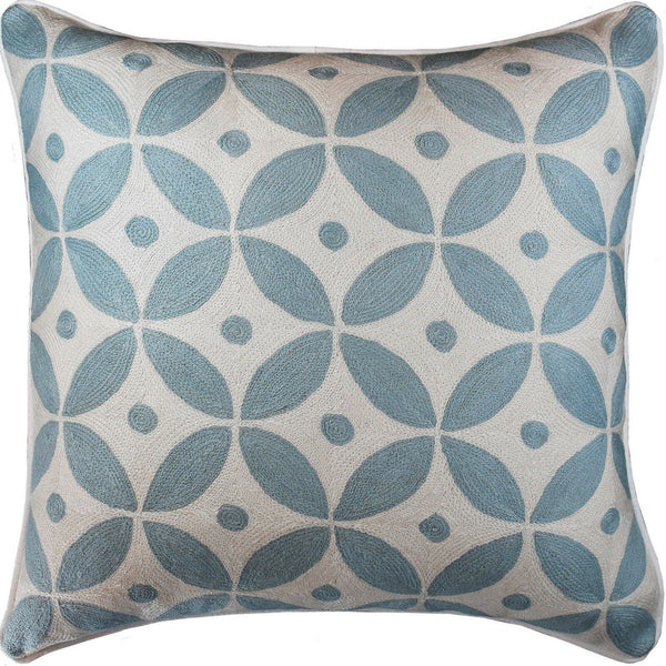 Diamond Circles Baby Blue Decorative Pillow Cover Handembroidered Wool 20x20""