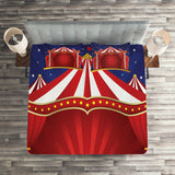 Red Blue Quilted Coverlet & Pillow Shams Set, Canvas Circus Tent Print