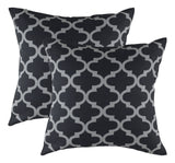 TreeWool, (2 Pack) Throw Pillow Cushion Covers in Cotton Canvas Trellis Accent