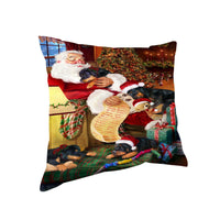 Rottweiler Dog & Puppies Sleeping with Santa Throw Pillow 14x14