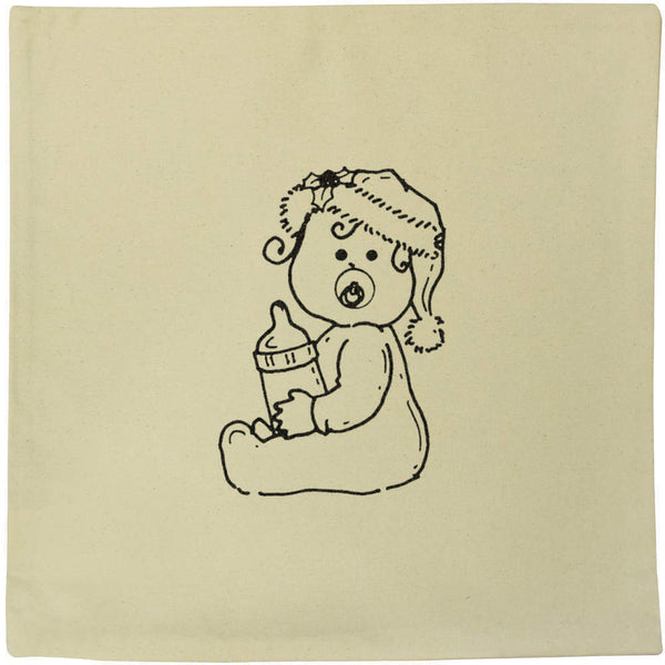 40cm x 40cm 'Christmas Baby' Canvas Cushion Cover (CV00003327)