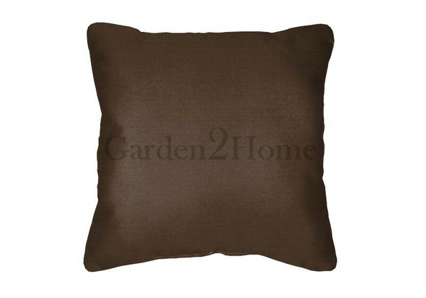 Sunbrella Throw Pillows Canvas Bay Brown 5432 (Set of 2) Solid Square In/Outdoor