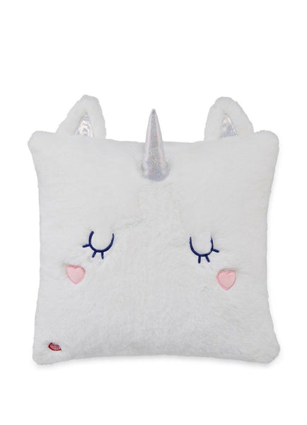Kids Plush Sleeping Unicorn Throw Pillow, Face Lights Up w Alternating Colors