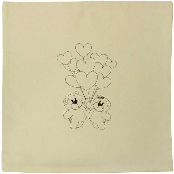 40cm x 40cm 'Teddies With Balloons' Canvas Cushion Cover (CV00001476)