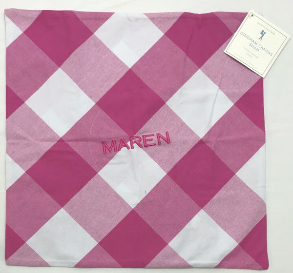 "Pottery Barn Kids Gingham Canvas 16"" Pillow Cover Maren Mono"