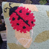 "Ladybug & Leaves Hooked Wool Pillow 16"" x 16"" Cotton Canvas Back Garden Nature"