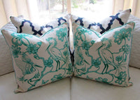 "$122 Florence Broadhurst Egret Bird Pillows Aqua 20"" Set of 2"