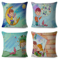 Cartoon Cute Girl Happy Childhood Pillowcase Decor Lovely Child Cushion Cover
