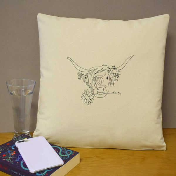 40cm x 40cm 'Highland Cow With Flower' Canvas Cushion Cover (CV00005153)