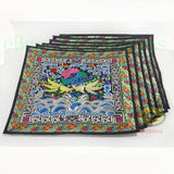 Square Chinese Minority People's Embroidery Canvas Cushion Cover / Pillow Case