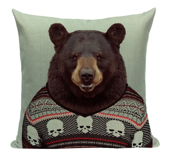 Bear Animal A3 Cushion Pillow Cover Portrait Zoo Mammal Formal Serious Cute