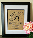Personalized Burlap Print Script Monogrammed Wall Art Established Sign Wedding