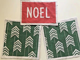 3 Modern Christmas Pillow Covers Green Arrows Red NOEL Canvas Square