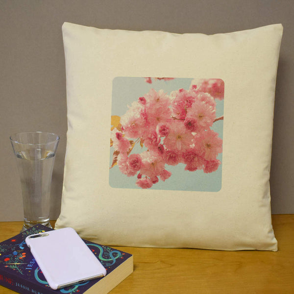 40cm x 40cm 'Pink Blossoms' Canvas Cushion Cover (CV00008768)