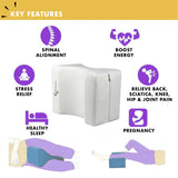 Knee Leg Pillow for Side Sleepers Memory Foam Sleep Cushion Back Pain Relief US