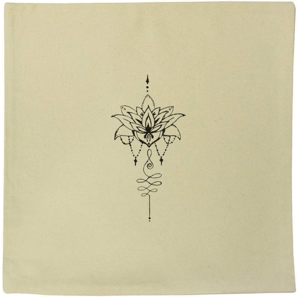 40cm x 40cm 'Lotus Motif' Canvas Cushion Cover (CV00017531)