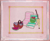 JG Picnic on the Beach Handpainted Needlepoint Picture or Pillow Canvas