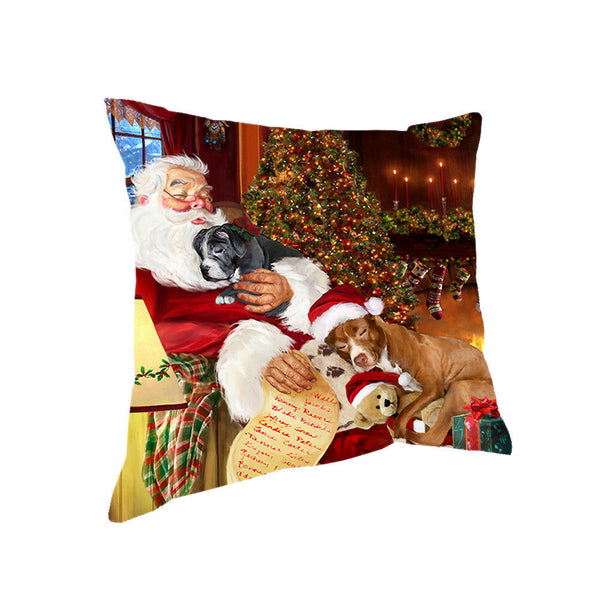 Santa Sleeping with Pit Bull Dogs Christmas Pillow 14x14
