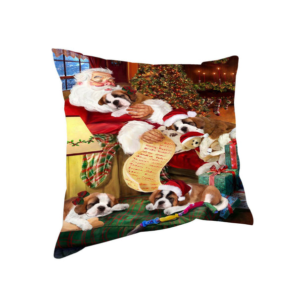 Saint Bernard Dog & Puppies Sleeping with Santa Throw Pillow 14x14