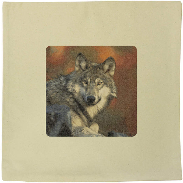 40cm x 40cm 'Wolf' Canvas Cushion Cover (CV00002094)