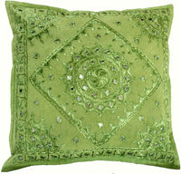 5PC Indian Handmade Embroidered Mirror Work Pillow Case Cushion Cover Sofa Decor