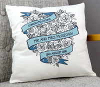 Custom Roses Heart Wedding Bouquet Date Cushion 2nd Cotton Anniversary Gift