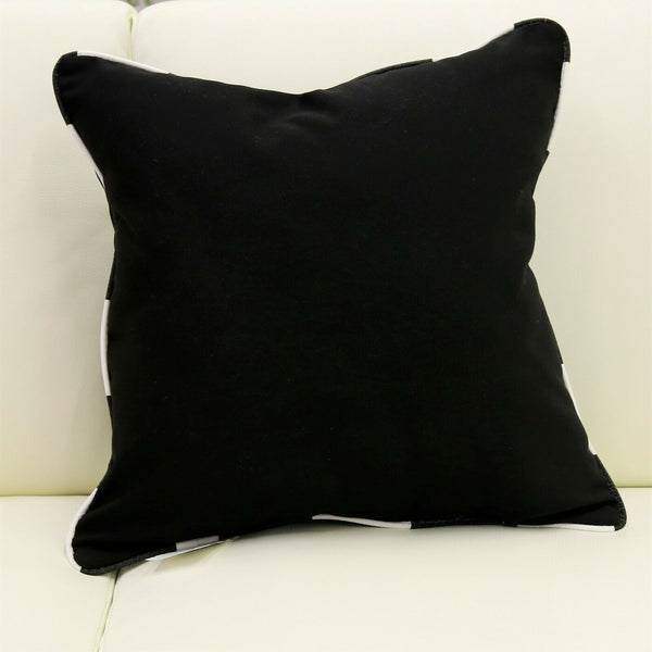 Indoor Outdoor Decorative Pillow Cushion Sunbrella Canvas Black with Lido Indigo