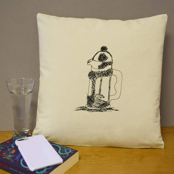 40cm x 40cm 'Coffee Maker' Canvas Cushion Cover (CV00002251)
