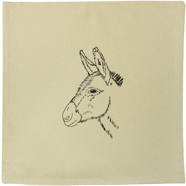 40cm x 40cm 'Donkey Head' Canvas Cushion Cover (CV00013328)