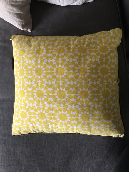 DWELL STUDIO PILLOW Yellow Rosette Rose Flower Square Cotton Canvas Rare HTF