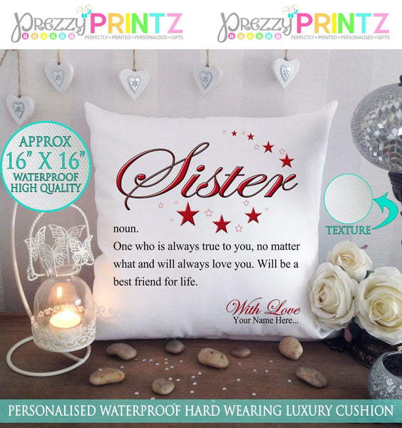 "16"" X 16"" PERSONALISED CUSHION NOUN SISTER CHRISTMAS BIRTHDAY CANVAS GIFT"